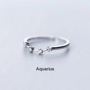 *Sterling Silver Zodiac Resizable Ring-Aquarius